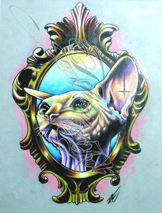"""Sphynx Katzen 8x11.5 gerahmt """"Druck von meinem Original-Artworks - Prismacolor by AgitatedArt on Etsy"""