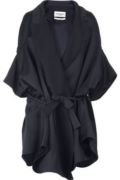 Navy satin oversized coat with large drawstring cut-out detailing at the sides. Yves Saint Laurent coat has elbow length sleeves and panel detailing. 74% silk, 26% lana wool. Dry clean.