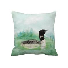 Watercolor Loon Wilderness Lake Bird Nature Art