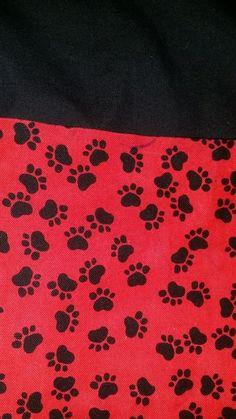 Waitress Server Belt Red Black Dog Paw Print 3-Pocket Apron Tie Post mastectomy #homemade