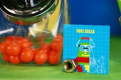Robot party dessert tags with easy hardware (nuts & bolts) placecard holders