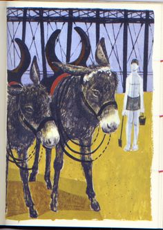 """Donkeys"" by Robert Tavener (lithograph)"