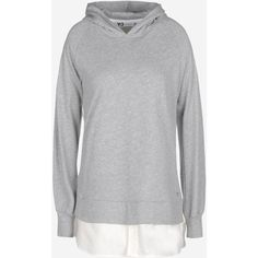 Y-3 Hybrid Hoodie ($140) ❤ liked on Polyvore featuring tops, hoodies, light grey, cuff shirts, hoodie pullover, sweatshirt hoodies, pullover hooded sweatshirt and panel shirt