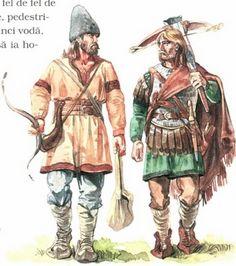 Wallachian Mosneni (Freemen) Warriors XIVth century. Radu Oltean European Costumes, Historical Art, Viking Age, Teaching History, Medieval Clothing, Dark Ages, Medieval Fantasy, 14th Century, Military History