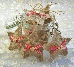 10 x Hessian star christmas tree decorations, shabby chic job lot, burlap rustic in Home, Furniture & DIY, Celebrations & Occasions, Christmas Decorations & Trees | eBay