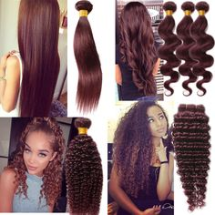 """Brazilian Human hair extension Wave/Straight/Curly 10""""-30""""99J wine red Remy hair #wigiss #HairExtension"""