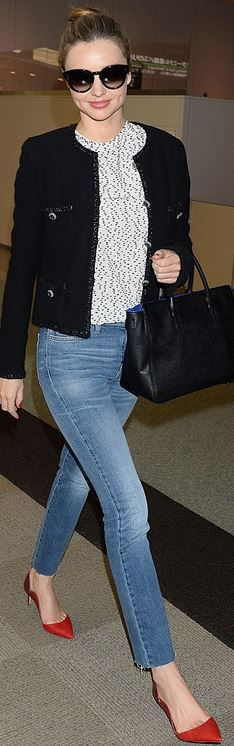 Who made Miranda Kerr's tweed jacket, red scallop pumps, blue skinny jeans, and sunglasses that she wore Tokyo?