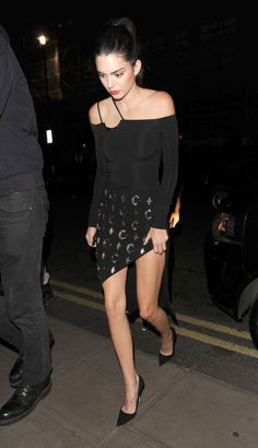 Kendall Jenner In an asymmetrical LBD by David Koma at the Estee Edit x Selfridges Party.
