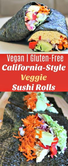 These Vegan Sushi Rolls are made using raw shredded vegetables, hummus, and delicious avocado for a California-style veggie meal. Vegan sushi, veggie lunch, veggie sushi roll, california recipe