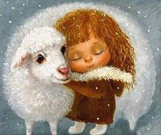 Lamb and girl prophetic art. Cross Paintings, Animal Paintings, Prophetic Art, Angel Art, Whimsical Art, Cute Illustration, Christmas Art, Scooby Doo, Illustrators