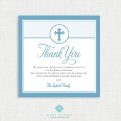 Baptism Thank You Card  DIY Printable Thank you  by MsfitDesigns, $7.00