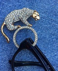 Rhinestone cougar pin, Perfect Panther rhinestone eyeglass holder, Rose gold, rhinestone costume jewelry, ladies accessories
