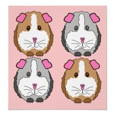 Adorable Pet Art Poster Print Brown and Gray Guinea Pigs