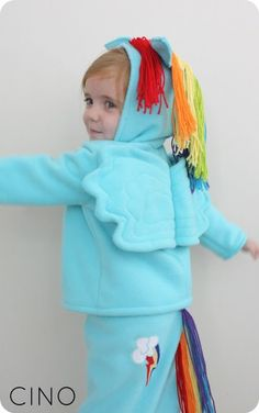 Rainbow Dash costume-the hoodie. Could use the basic idea to make other hoodies.
