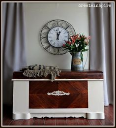 vintage waterfall chest in linen, painted furniture, shabby chic Cedar Chest Redo, Painted Cedar Chest, White Painted Furniture, Trunk Makeover, Furniture Makeover, Furniture Update, Furniture Projects, Furniture Decor, Painting Furniture