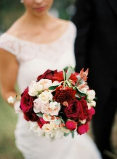 Cranberry Red Wedding Bouquet.  Flowers of Charlotte loves this!   Find us at www.charlotteweddingflorist.com