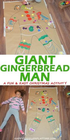 christmas crafts for kids to make Giant Gingerbread Man HAPPY TODDLER PLAYTIME Create a life size gingerbread man (or girl!) in this super easy and fun Christmas craft activity! Your toddler, preschooler or kindergartner will love it! Christmas Activities For Kids, Christmas Crafts For Preschoolers, Winter Crafts For Toddlers, Toddler Christmas Crafts, Christmas Projects For Kids, Kindergarten Christmas Crafts, Christmas Activities For Toddlers, Christmas Arts And Crafts, Winter Kids