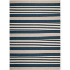 Courtyard Navy/Beige (Blue/Beige) 9 ft. x 12 ft. Indoor/Outdoor Rectangle Area Rug