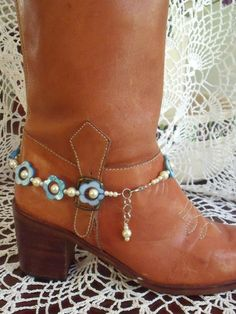 Items similar to Boot Bracelet Jewelry Blue Flower Beads with Pearl Finish Beads on Etsy Boot Bling, Bling Shoes, Cowgirl Bling, Cowgirl Boots, Boot Jewelry, Anklet Jewelry, Anklets, Western Jewelry, Gypsy Boots
