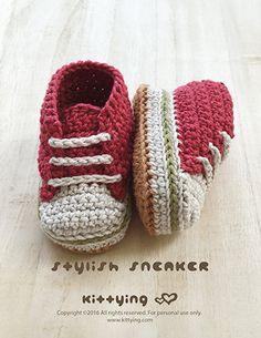 Padrão Crochet bebê padrões à moda do bebê sapatilhas Crochet sapatas de bebê Crochet Sapatinho Crochet Pattern recém-nascido Sneakers recém