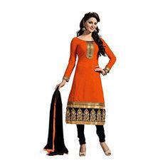 Sanjana Women's Cotton Salwar Suit Dupatta Unstitched Dress Material (Lehnga_SC9145_Free Size_Orange & Black)