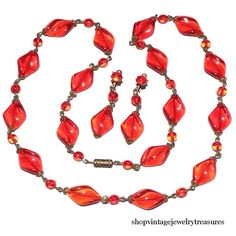 Vintage Art Deco Red Czech Glass Brass Necklace & Clip Earring Set #ArtDeco #red