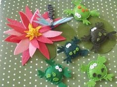 Felt water lily, frogs, lily pads.
