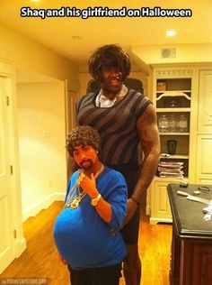 Fabulous Shaq and his girlfriend... ummmmm  some reason this reminds me of @La Farme / Anne Rios  and mark?????? LOL