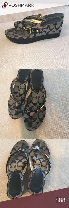 Coach Signature Print Thong Wedges EUC! Black and gold C print wedges. Leather thong with patent leather trim & gold buckle detail. Very cute! Size 7.5 true to size Coach Shoes Wedges