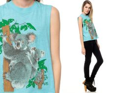 KOALA Shirt 80s Tank Top Cutoff Vintage Animal Turquoise Blue Australia 1980s Cut Off Low Armhole Screen Print Extra Small Medium Large XS on Etsy, $43.00