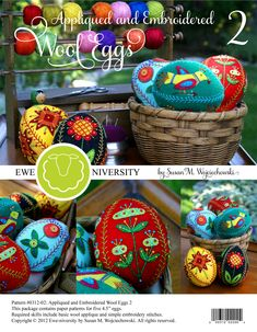 Appliqued and Embroidered Wool Eggs 2