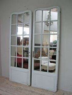 Charming Mirrors + Old French Doors. These Are Just Used As Decoration. They Are  Leaning