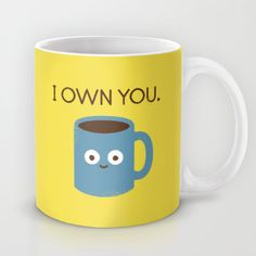 """David Olenick's humorous digital illustrations perfectly capture the feelings of dependence and adoration we all have for our favorite legal narcotic. Check out David's """"Coffee Talk"""" design as a premium quality coffee mug, available in 11 and 15 oz sizes."""