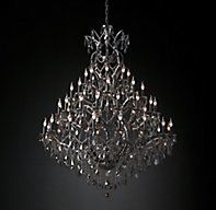 """RH's 19th C. Rococo Iron & Smoke Crystal Round Chandelier 60"""":Inspired by the opulence of Victorian English lighting, our collection by Timothy Oulton juxtaposes a rustic iron frame with a profusion of crystal glass, precision-cut and polished for optimal refraction and sparkle.SHOP THE ENTIRE COLLECTION ▸"""