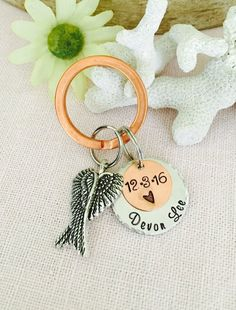 Loved One Loss Keychain Husband Loss Child Loss by Stampedjust4you