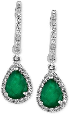 Brasilica by EFFY Emerald (1-1/8 ct. t.w.) and Diamond (1/4 ct. t.w.) Drop Earrings in 14k White Gold on shopstyle.com
