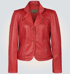 Women's Alice Red High Quality Real Leather Jacket      Jacket Features:   Outfit type: genuine Or Faux Leather Jacket Gender: Female Color: Red Front: Front Button Closure Collar: CoatStyle Collar Lining: Viscose Lining Cuffs: Round Cuffs Pockets