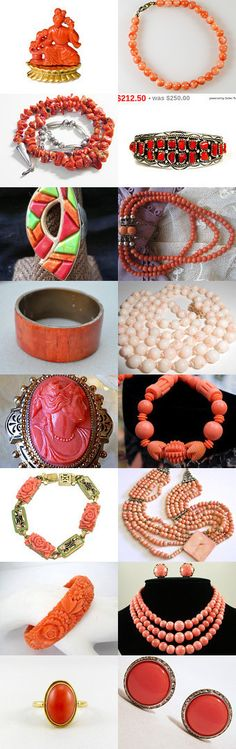 Coral Gifts. Real and faux, demure and daring, gifts of coral from the shops of the Vintage Vogue Team.... Curator: Cherie from https://www.etsy.com/shop/ElegantArtifacts #Etsy #Treasury #Corals #Jewelry #Antique #Vintage