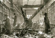 Readers browsing through the bomb-damaged library of Holland House, London, 1940 (via @History In Pics)