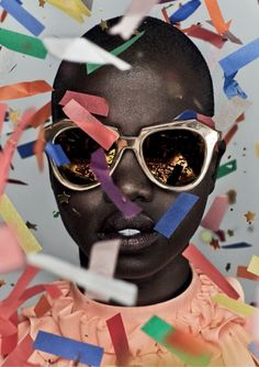 "Cake, confetti and chaos is the theme of Karen Walker's latest ""Celebration"" collection created in honor of her companies 10-year anniversary. The collection includes one style from each year in a limited-edition gold finish."