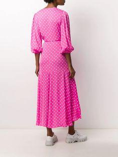 Essentiel Antwerp Polka Dot Wrap Dress - Farfetch Pink Polka Dots, Mid Length, Wrap Style, Pink Dress, Wrap Dress, Women Wear, Shirt Dress, Casual, Clothing