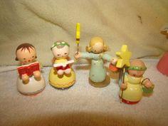 Vintage Wood Christmas Ornaments Italy Angels Lot of 16 Erzgebirge Type | eBay