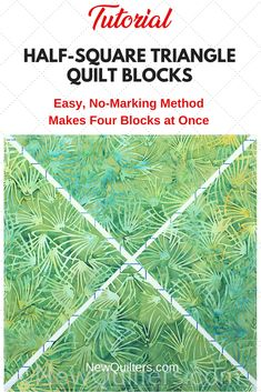 How to Make Half-Square Triangle Blocks (Method An easy way to make four half-square triangle quilt blocks from two fabric squares. No marking needed. Half Square Triangle Quilts Pattern, Half Square Triangles, Square Quilt, Quilt Blocks Easy, Easy Quilts, Scrappy Quilts, Block Quilt, Patchwork Quilting, Patch Quilt