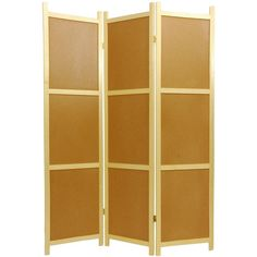 Oriental Furniture 6 ft. Tall Cork Board Shoji Screen - 3 panel, Beige & Tan