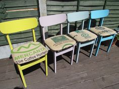 Retro Upcycled Chairs painted in Autentico Yellow Tan, Mauve Faux, Troubled Water, Antique Turquoise.