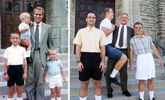 """This is the best idea ever! The brothers make the recreation so hilarious and they are so on point in terms of the accuracy of recreation! Love it """"Three Brothers Re-Created Old Photos To Make This Epic Calendar For Mom"""""""
