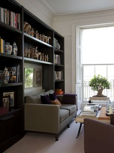 I like these shelves with a sofa