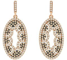 Champagne and White CZ Oval Earrings