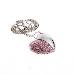 Pendrive naszyjnik serce z kryształkami różowy