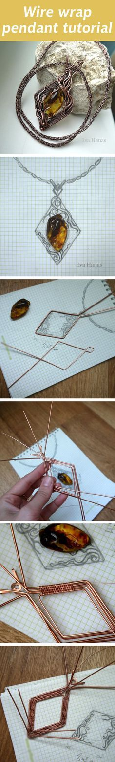 Wire wrap pendant tutorial. Click on image to see step-by-step tutorial